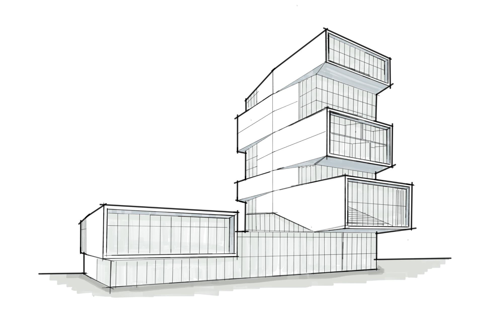 A sketch rendering of the David Rubenstein Forum design.
