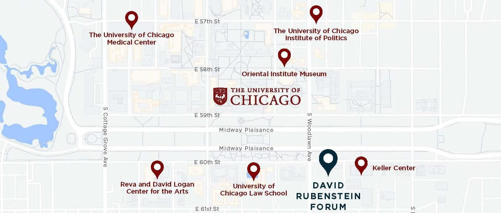 Displaying a partial map of the University of Chicago campus, and the current location of David Rubenstein Forum.