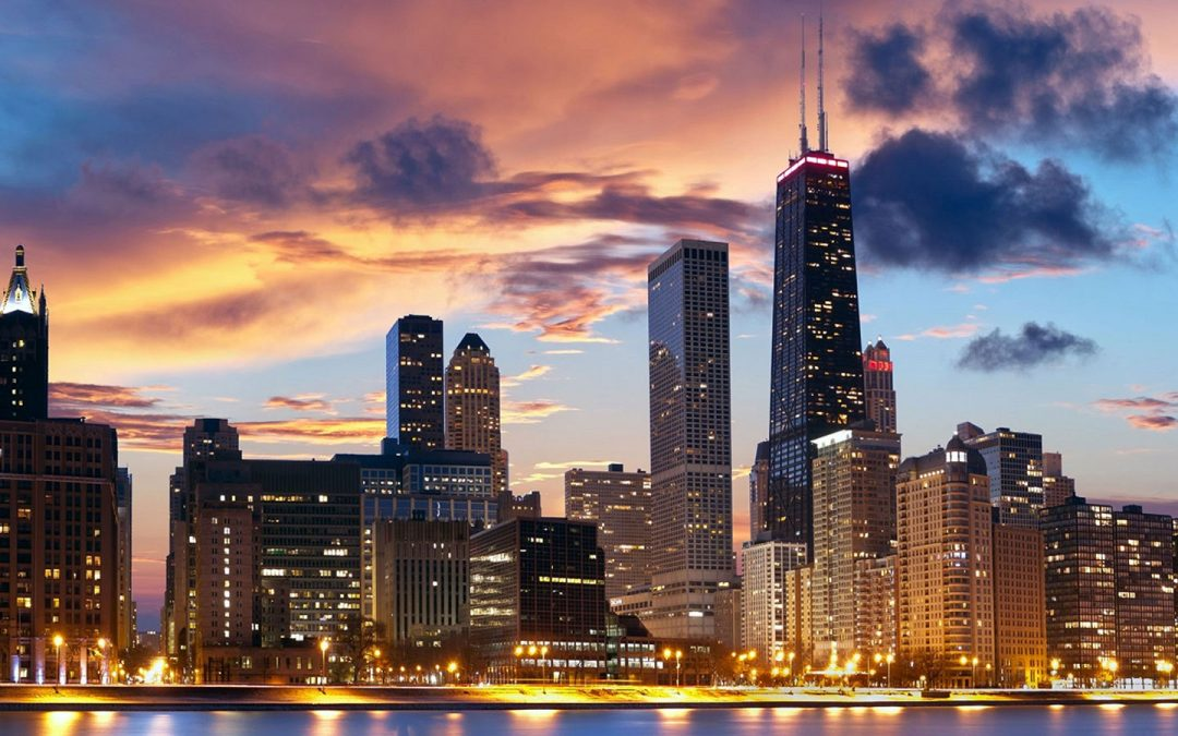 Sunset view of the Chicago City Skyline