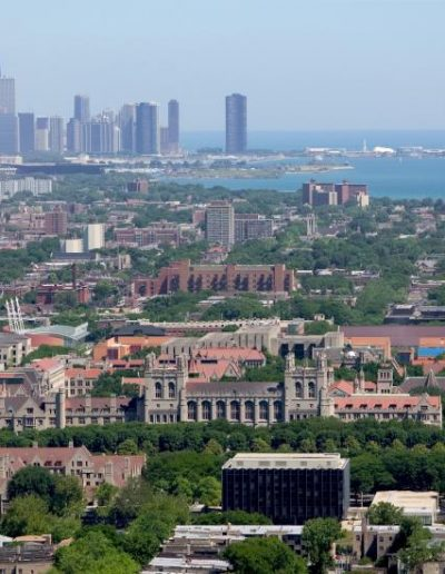 Aerial view of the Hyde Park campus and Lake Michigan looking northward to downtown Chicago