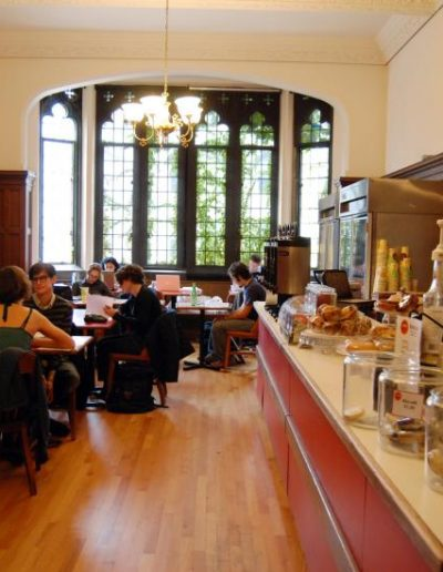 Students gathered in a campus coffee shop