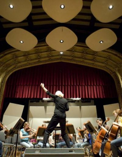 The University's Symphone orchestra performing in Mandel Hall