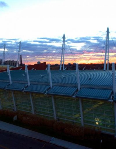 Sunset picture of Ratner Athletic Center