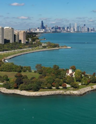 Aerial shot of Promontory Point Park on lake Michigan looking northward to downtown