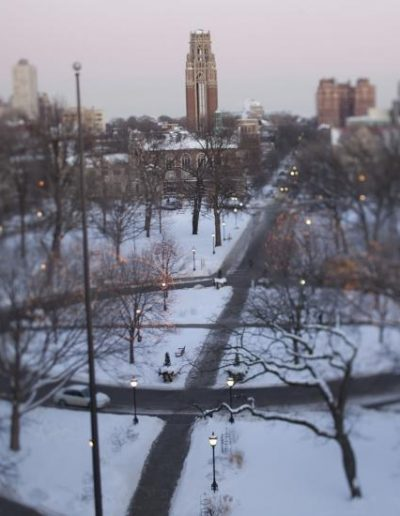 Aerial view of the main quadrangles in winter