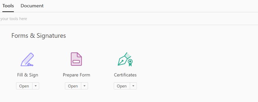 Adobe Acrobat Tools menu