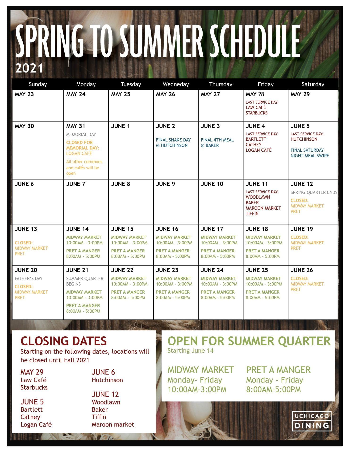 Spring to Summer Closing Calendar