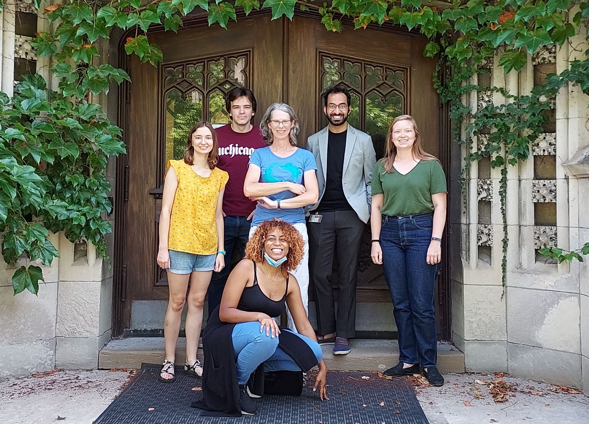 Lab members standing in front of Culver Hall door