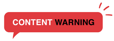 """red box with the words """"content warning"""" in black and white inside"""