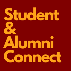 student and alumni connect golden text with maroon background