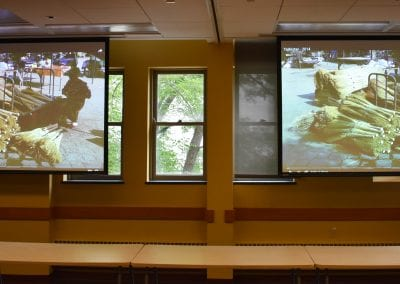 Photo of dual projectors in Cobb 210