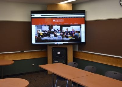 Photo of the new TV monitors and AV racks in Cobb classrooms