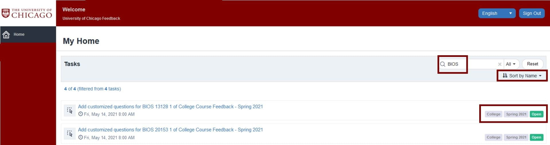 Screenshot to illustrate what tasks look like when updated on the Course Feedback screen