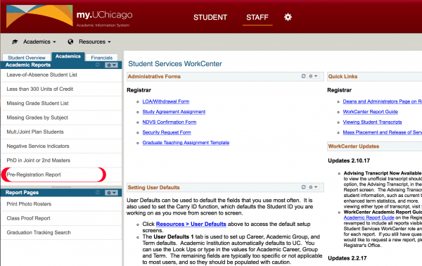 college pre registration reporting university registrar