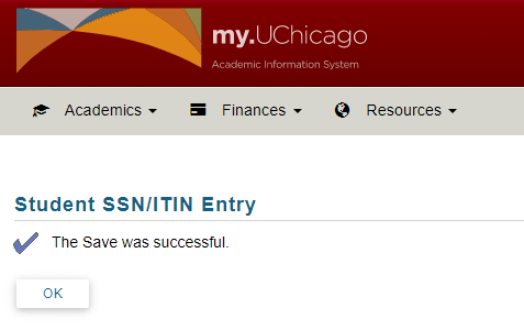 Screenshot of successful SSN or ITIN entry.