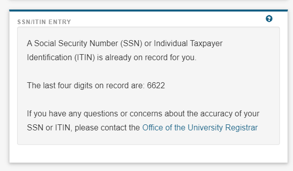 Screenshot of existing SSN or ITIN number on record.