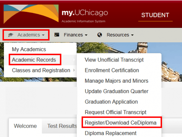 Screenshot of my.UChicago portal for students with red boxes highlighting Registrar/Download CeDiploma link from the dropdown menu