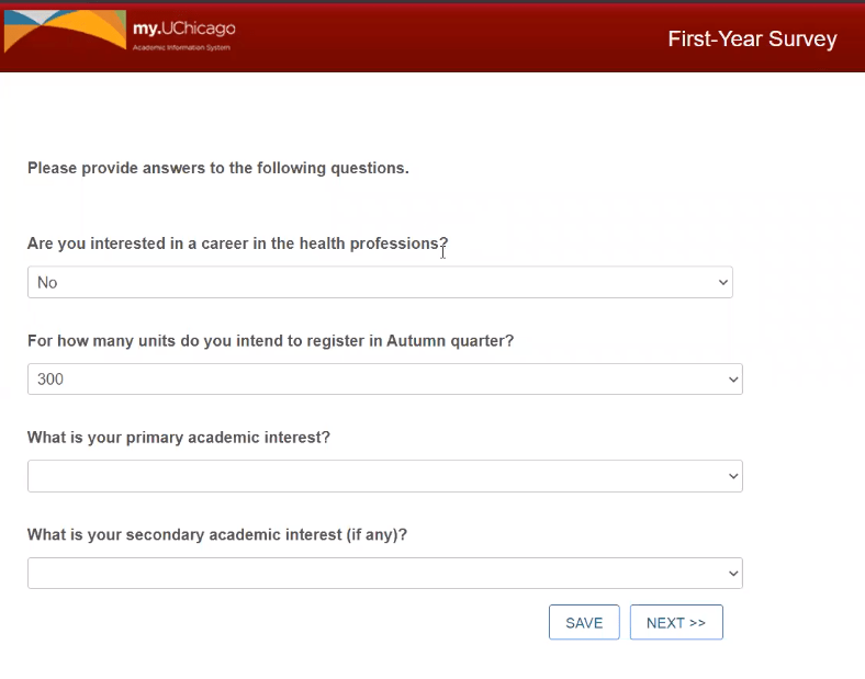 Screenshot of first-year pre-registration survey questions