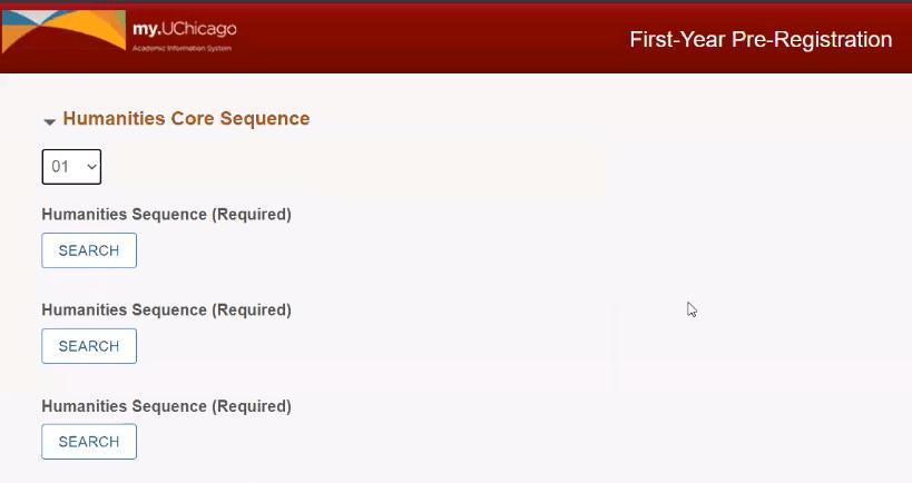 Screenshot of Humanities Core Sequence rankings