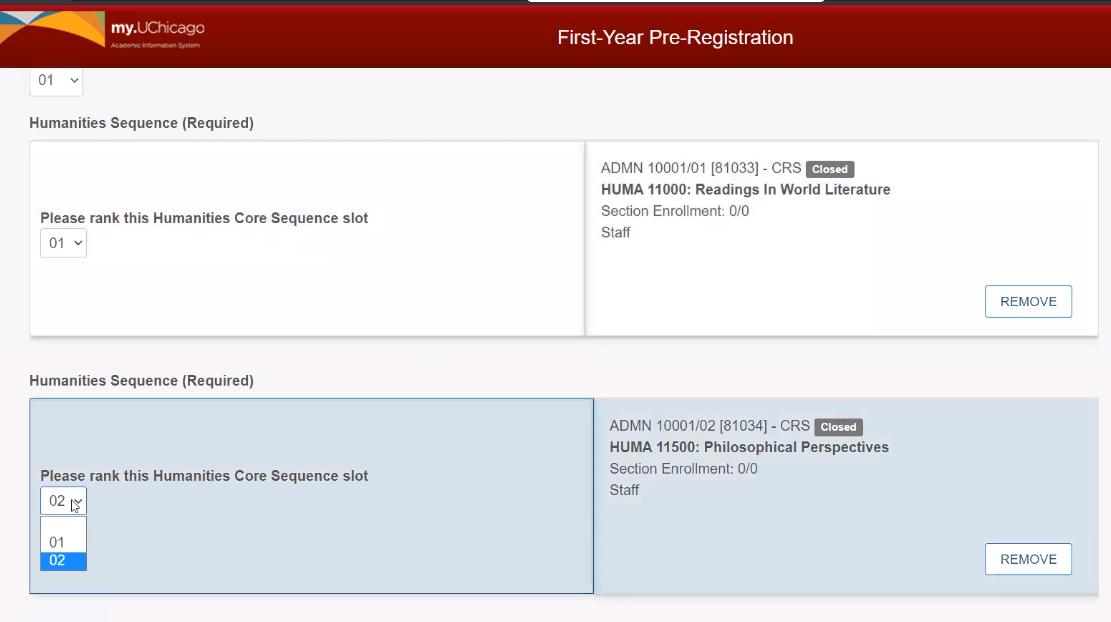 Screenshot of dropdown menu to change Hum Core sequence rankings