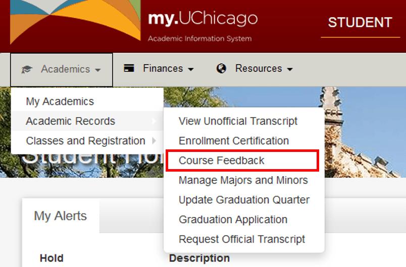 Screenshot of course feedback menu option