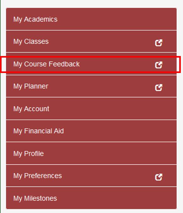Screenshot of course feedback menu option in sidebar