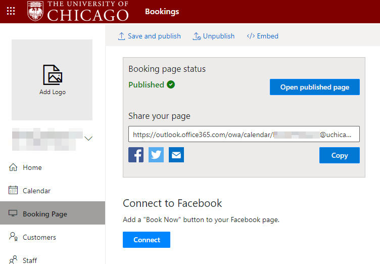 Published booking page screenshot