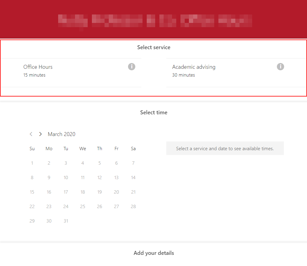Bookings services screenshot
