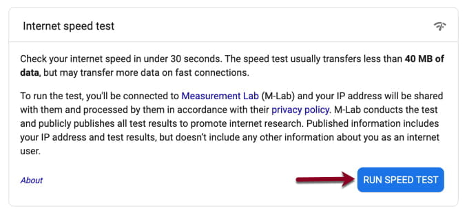 Google speedtest screenshot