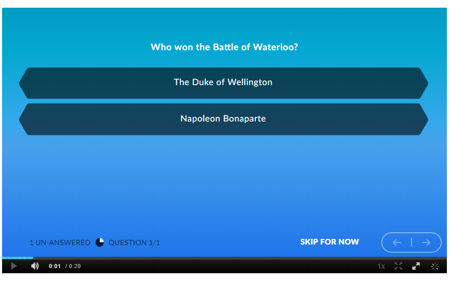Example of an in-video quiz