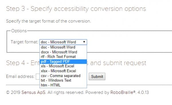 Drop-down menu of format options for accessibility conversion