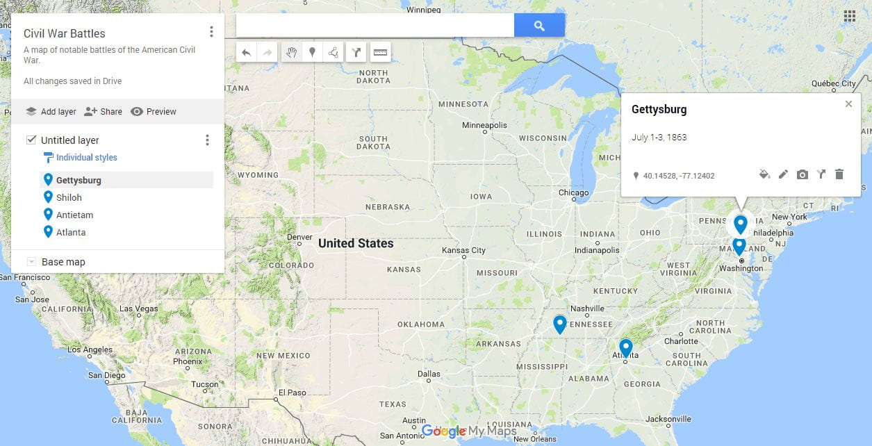 A map of notable Civil War battles, created with Google Maps