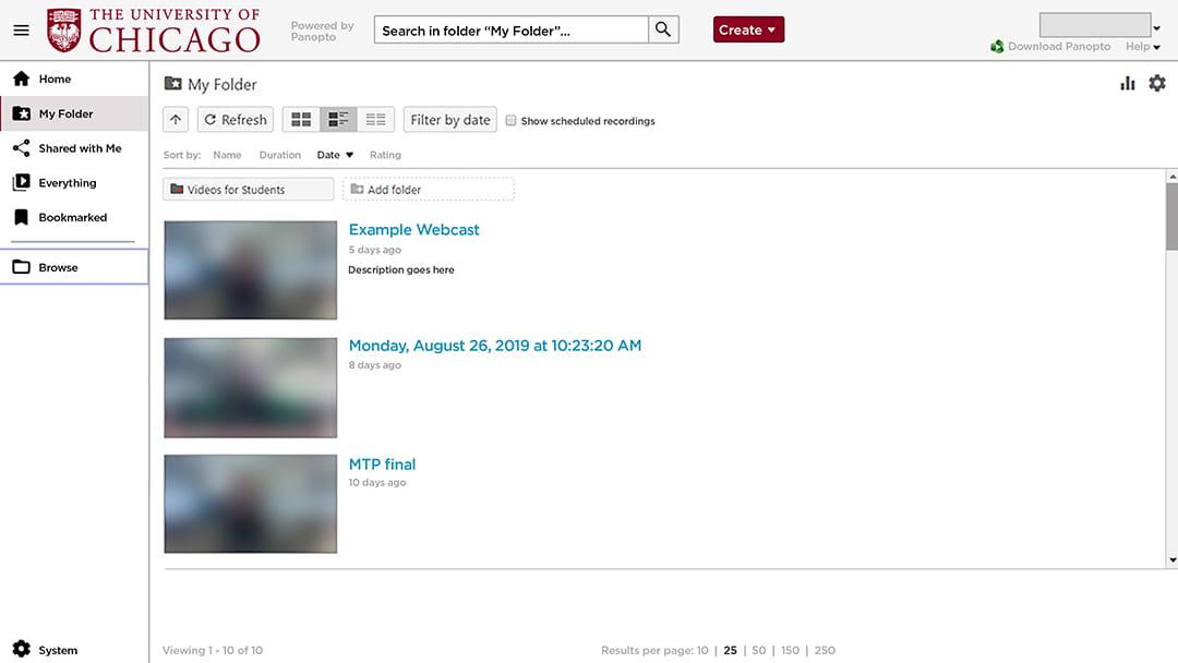 screenshot of Panopto application