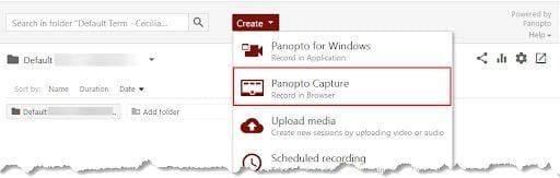 Panopto Create drop-down menu with Panopto Capture indicated