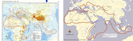 Maps of Muslim rule and trade routes 905-1500
