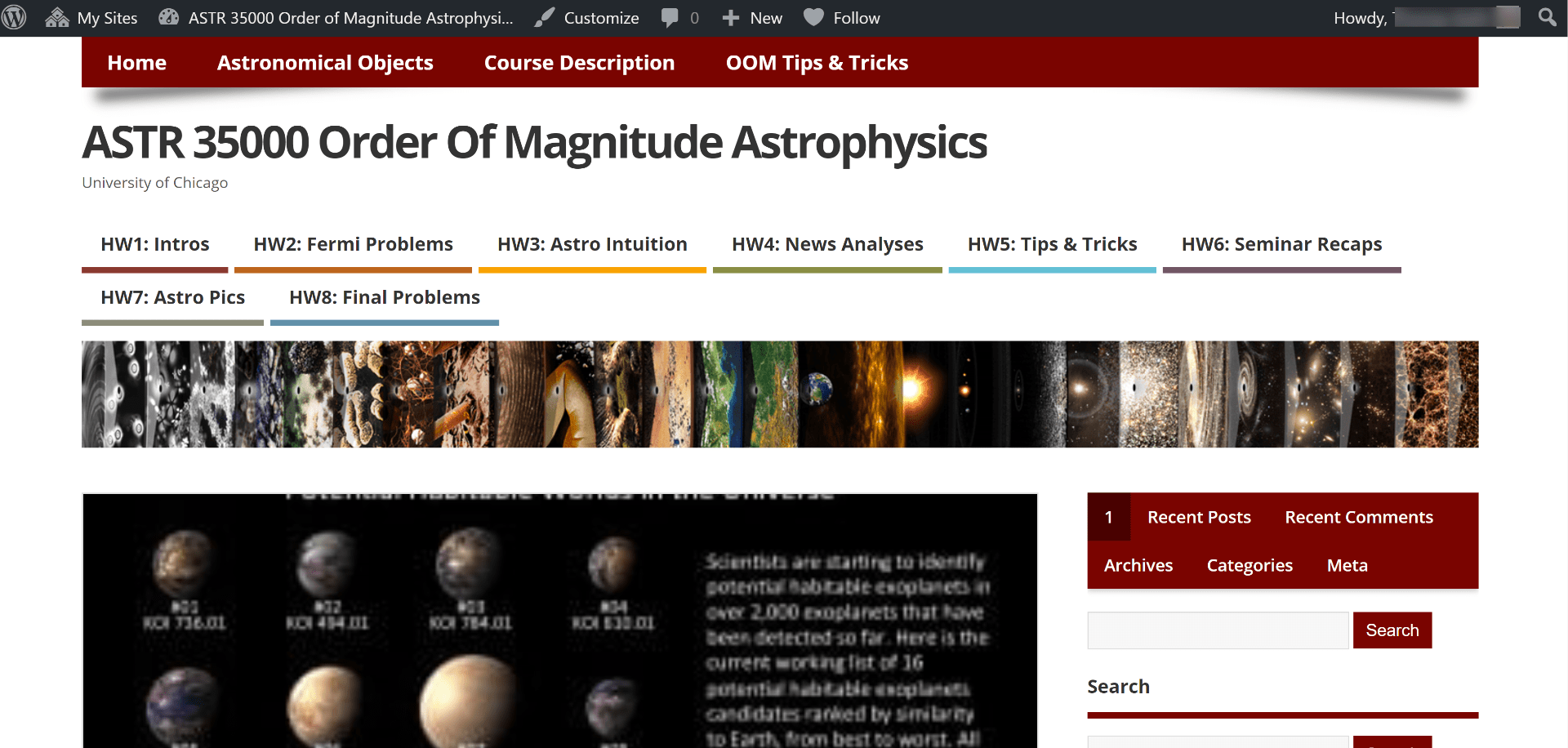 Home screen of Order of Magnitude Astrophysics course blog