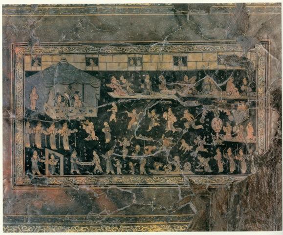 图1朱然墓出土宮闈宴樂圖漆盤