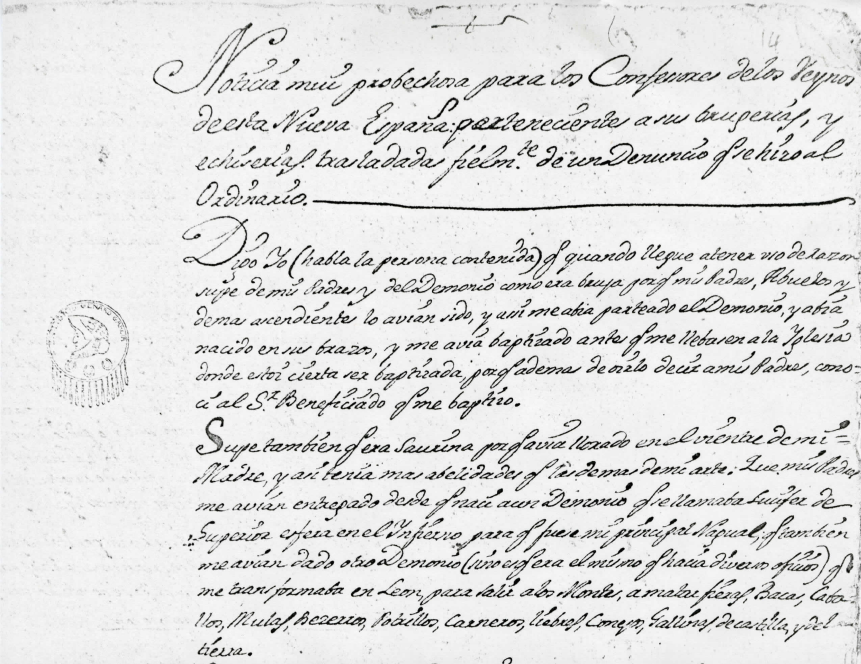 The Confession of an Indigenous Witch in Eighteenth-Century Mexico