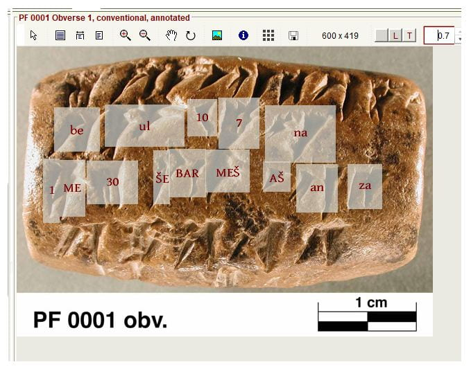 Hotspots outlining cuneiform signs on Elamite tablet from the Persepolis Fortification Archive