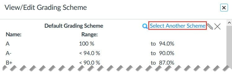 Click on the Select Another Scheme link at the top right to select another grading scheme.