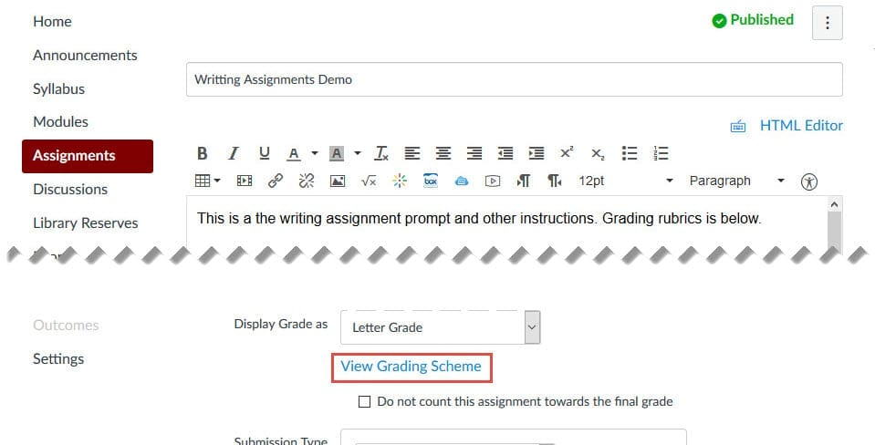 Click on the View Grading Scheme link under Display Grade as to choose the appropriate grading scheme.