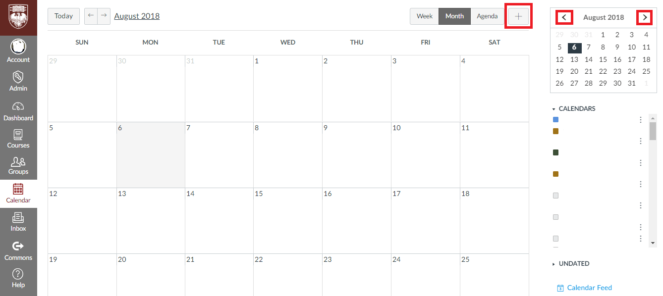 View of New Calendar with Plus Button and Left-Right Arrows Highlighted