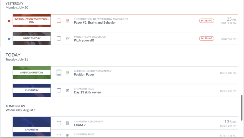 Image Showing Student To-Do List View