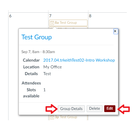 Image Showing Appointment Group Editing Dialog Box
