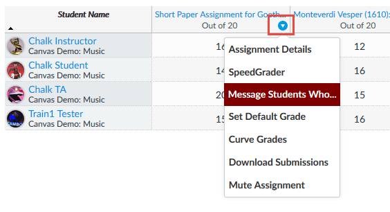 Image Showing Message Students Who...Function in Canvas Gradebook