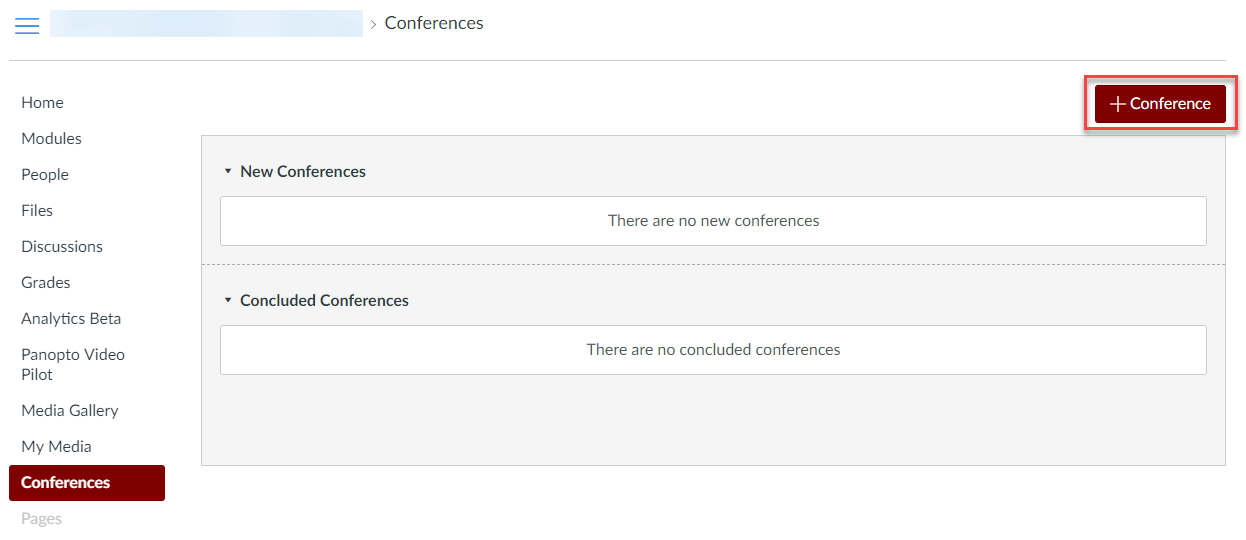 The Conferences tool within a Canvas course, with the +Conference button indicated