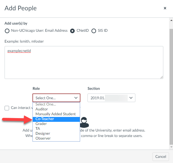 Add People drop-down menu with Co-Teacher indicated