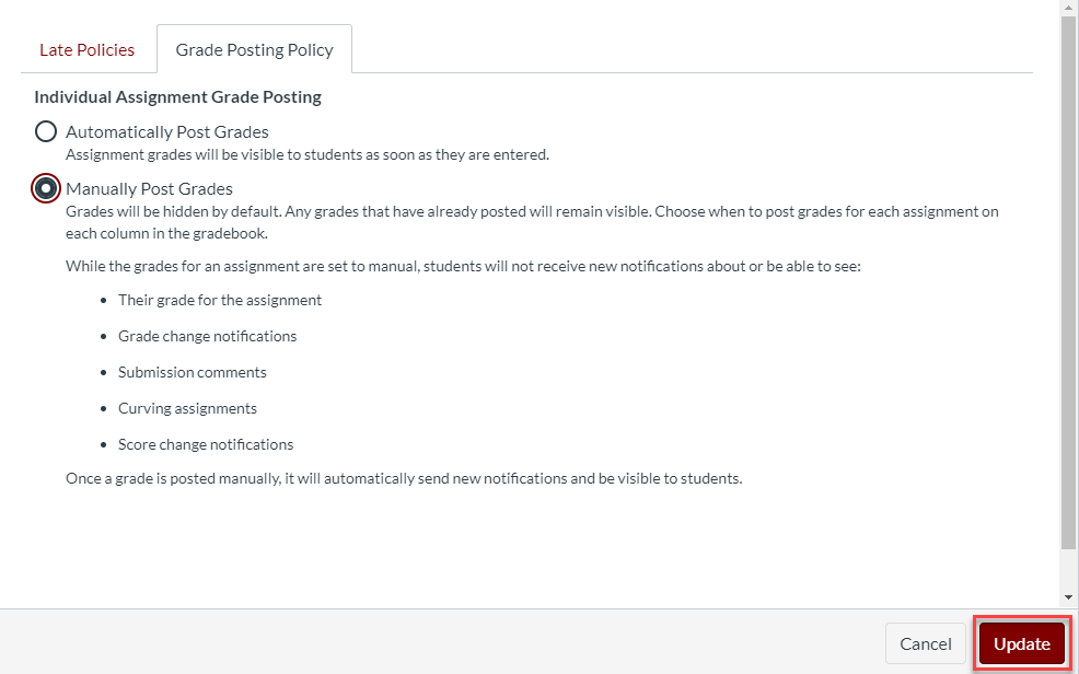 Dialog box for manually posting grades