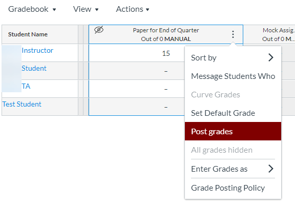 Drop-down menu with Post Grades indicated