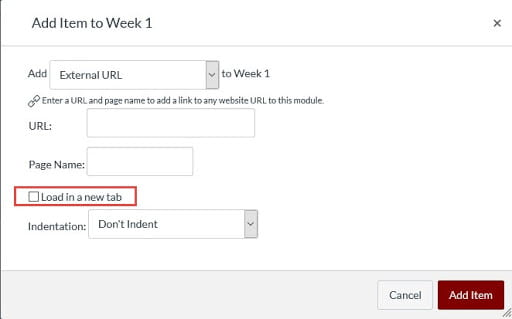 Select the Load in a new tab option when adding External URLs or External Tools to Canvas Modules.